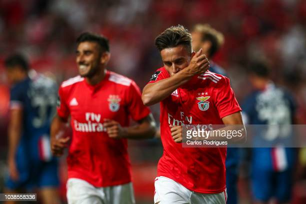 Franco Cervi of SL Benfica celebrates scoring SL Benfica second goal during the Liga NOS match between SL Benfica and CD Aves at Estadio da Luz on...