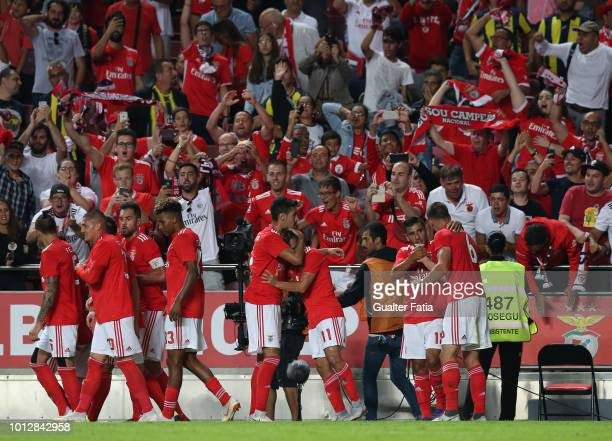Franco Cervi of SL Benfica celebrates with teammates after scoring a goal during the UEFA Champions League Qualifier match between SL Benfica and...