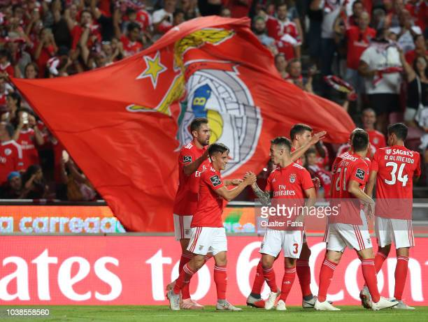 Franco Cervi of SL Benfica celebrates with teammates after scoring a goal during the Liga NOS match between SL Benfica and CD Aves at Estadio da Luz...