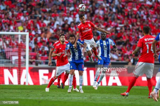 Franco Cervi of SL Benfica heads the ball away during the Liga NOS round 7 match between SL Benfica and FC Porto at Estadio da Luz on October 7 2018...