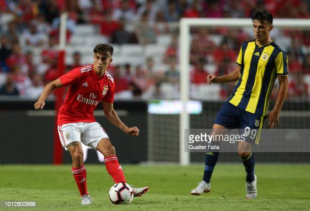 Franco Cervi of SL Benfica with Eljif Elmas of Fenerbache SK in action during the UEFA Champions League Qualifier match between SL Benfica and...