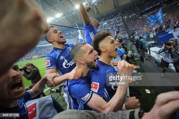 Franco di Santo Nabil Bentaleb Thilo Kehrer and team mates celebrate after the Bundesliga match between FC Schalke 04 and Borussia Dortmund at...