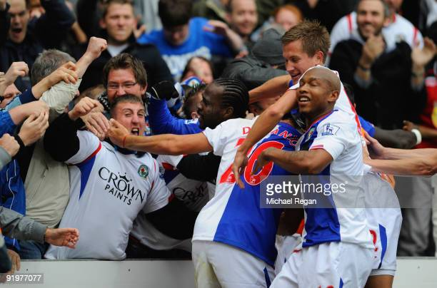 Franco Di Santo of Blackburn celebrates scoring the 2nd Blackburn goal with fans and team mates during the Barclays Premier League match between...
