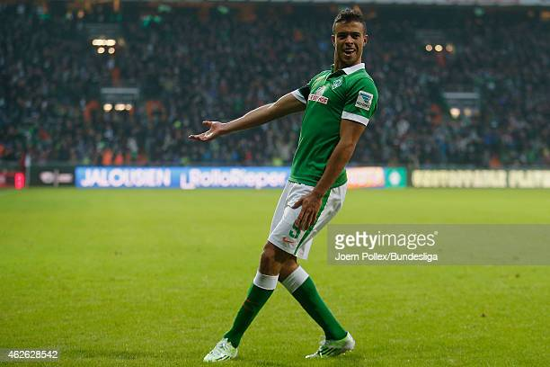 Franco di Santo of Bremen celebrates his team's first goal during the Bundesliga match between Werder Bremen and Hertha BSC Berlin at Weserstadion on...
