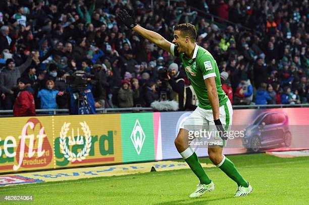 Franco di Santo of Bremen celebrates his team's second goal during the Bundesliga match between SV Werder Bremen and Hertha BSC at Weserstadion on...