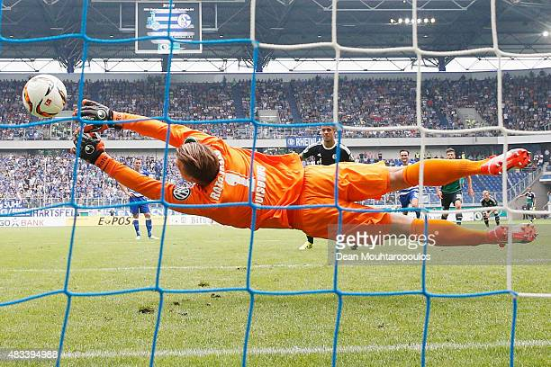 Franco Di Santo of FC Schalke 04 sees his penalty saved by Goalkeeper Michael Ratajczak of MSV Duisburg during the DFB Cup match between MSV Duisburg...