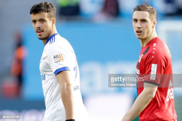 Franco Di Santo of Schalke 04 Dominik Kohr of Bayer Leverkusen during the German Bundesliga match between Bayer Leverkusen v Schalke 04 at the...