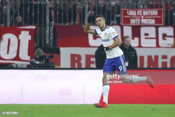 Franco Di Santo of Schalke celebrates after he scored a goal to make it 11 during the Bundesliga match between FC Bayern Muenchen and FC Schalke 04...