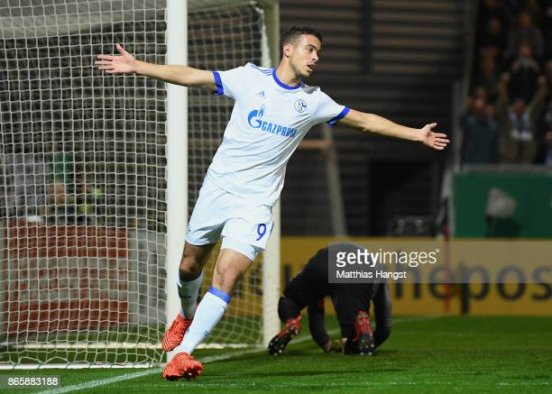 Franco Di Santo of Schalke celebrates after scoring his team's first goal during the DFB Cup match between SV Wehen Wiesbaden and FC Schalke 04 at...