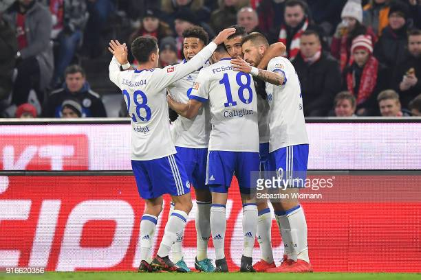 Franco Di Santo of Schalke celebrates with his team after he scored a goal to make it 11 during the Bundesliga match between FC Bayern Muenchen and...