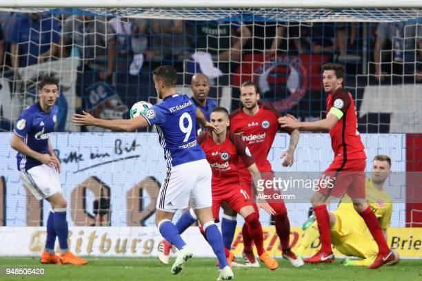 Franco di Santo of Schalke controls the ball before scoring a disallowed goal during the DFB Cup Semi Final match between FC Schalke 04 and Eintracht...