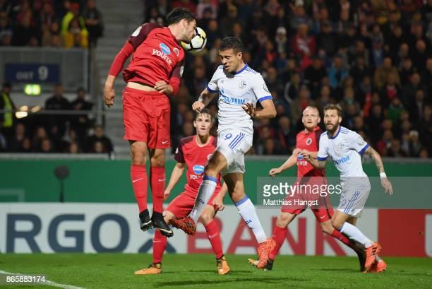 Franco Di Santo of Schalke scores his team's first goal during the DFB Cup match between SV Wehen Wiesbaden and FC Schalke 04 at BRITAArena on...