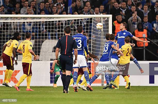 Franco Di Santo of Schalke scores their first goal with a header during the UEFA Europa League Group K match between FC Schalke 04 and AC Sparta...