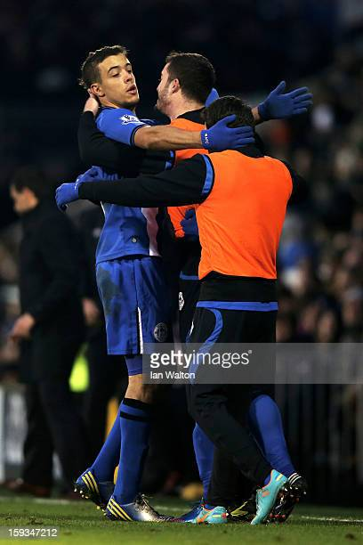 Franco Di Santo of Wigan is congratulated by teammates after scoring the goal to level the scores at 11 during the Barclays Premier League match...