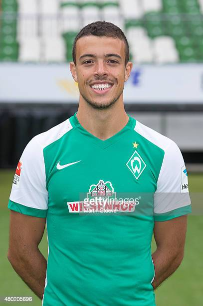 Franco Di Santo poses during the official team presentation of Werder Bremen at Weserstadion on July 10 2015 in Bremen Germany