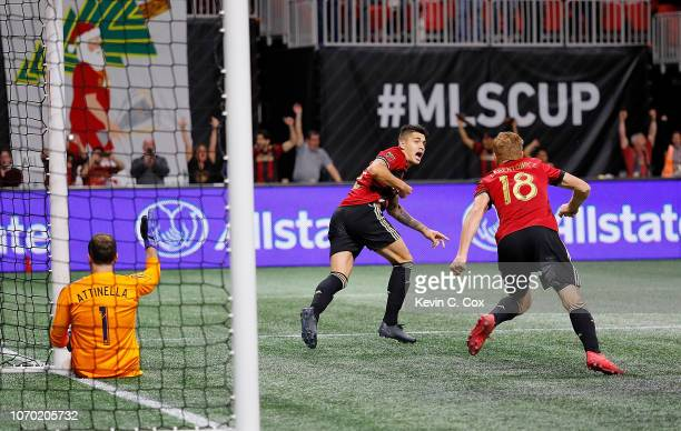 Franco Escobar of Atlanta United celebrates after scoring the second goal past goalkeeper Jeff Attinella of Portland Timbers in the second half with...