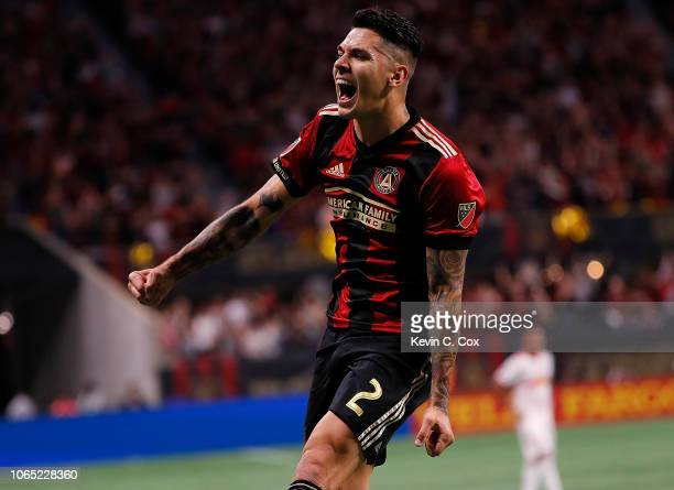 Franco Escobar of Atlanta United celebrates scoring the second goal against the New York Red Bulls in the second half of the MLS Eastern Conference...