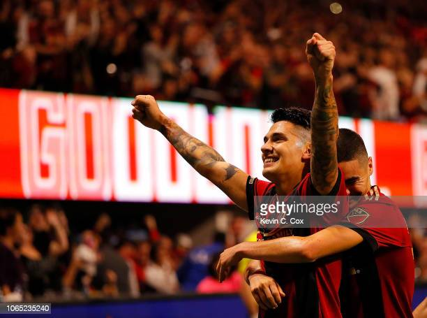 Franco Escobar of Atlanta United celebrates scoring the second goal against the New York Red Bulls with Miguel Almiron in the second half of the MLS...