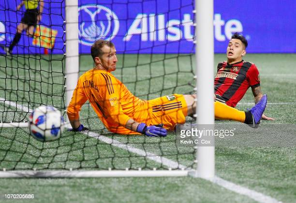Franco Escobar of Atlanta United scores the second goal past goalkeeper Jeff Attinella of Portland Timbers in the second half during the 2018 MLS Cup...