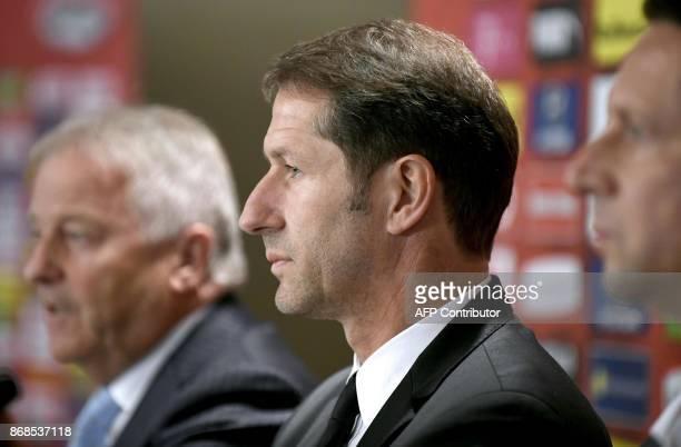Franco Foda designated German head coach of the Austrian national football team OeFBDirector Peter Schoettel and OeFBPresident Leo Windtner give a...