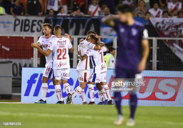 Franco Fragapane of Union celebrates with teammates after scoring the first goal of his team during a match between River Plate and Union as part of...