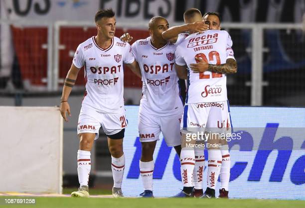 Franco Fragapane of Union celebrates with teammates after scoring the first goal of his team via penalty during a match between River Plate and Union...