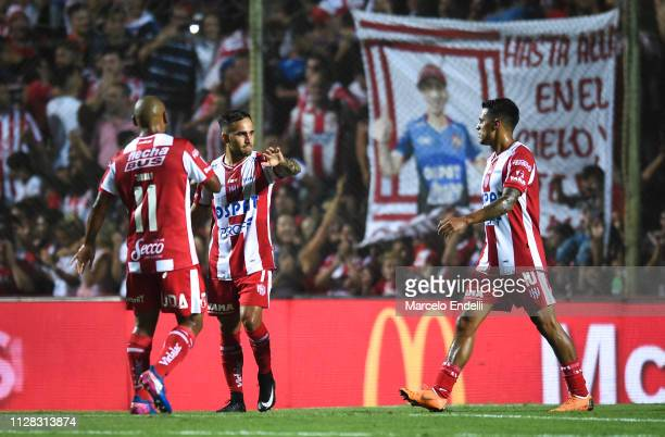 Franco Fragapane of Union celebrates with teammates after scoring the first goal of his team during a match between Union and Boca Juniors as part of...