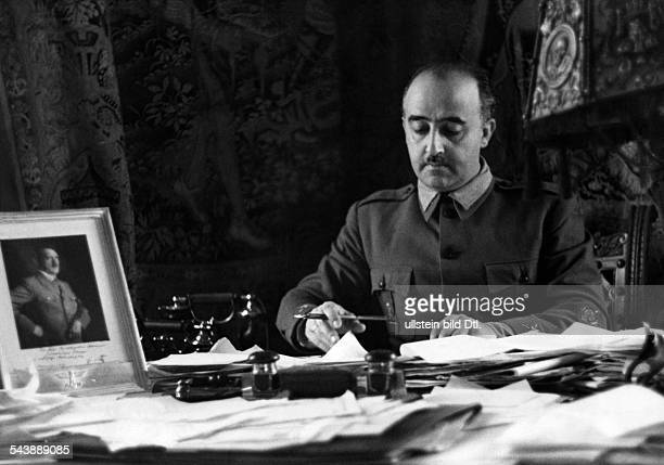 Franco Francisco General Politician Spain*04121892writing in his study Photographer Hanns Hubmann Published by 'Berliner Illustrirte Zeitung'...