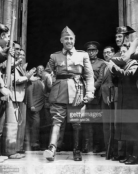 Franco Francisco politician officer spain civil war general Franco leaving the HQ of the northarmy at Burgos behind the commander of the northarmy...