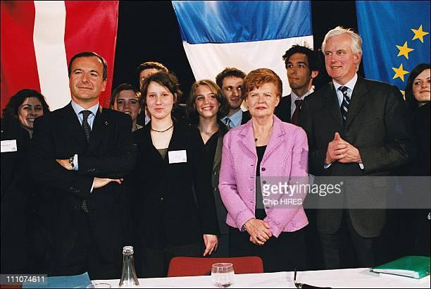 Franco Frattini vicepresident of the European Commission Mrs Vaira Vike Freiberga president of Latvia and Michel Barnier French Foreign Affairs...