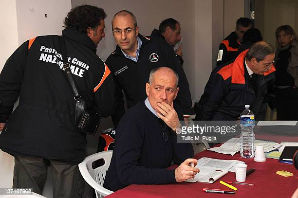Franco Gabrielli Chief of Department of Protezione Civile attends a meeting to coordinate the search and rescue operation aboard the Costa Concordia...