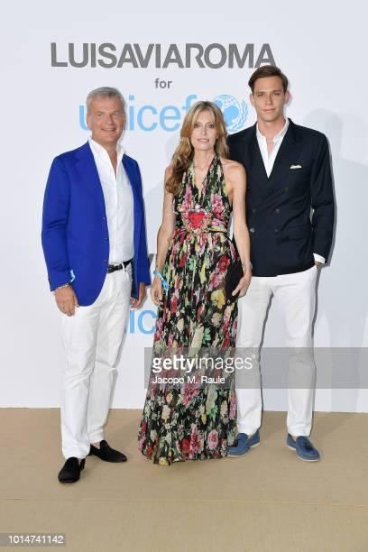 Franco Gusalli Beretta Umberta Gnutti Beretta and Carlo Gusalli Beretta attend a photocall for the Unicef Summer Gala Presented by Luisaviaroma at...