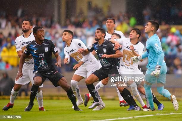 Franco Jara Alan Mendoza Kevin Escamilla Oscar Murillo Pablo Jaquez Alfredo Saldivar in action during the fourth round match between Pumas UNAM and...