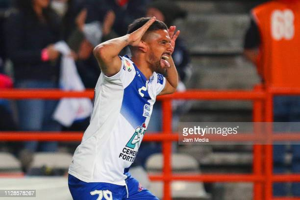 Franco Jara celebrates after scoring the first goal of his team Pachuca during the 6th round match between Pachuca and Morelia as part of the Torneo...