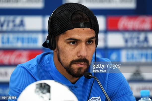 Franco Jara of CF Pachuca attends a press conference ahead of the FIFA Club World Cup UAE 2017 third place match between Al Jazira and CF Pachuca at...