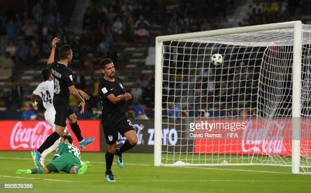 Franco Jara of CF Pachuca celebrates after scoring his sides second goal during the FIFA Club World Cup UAE 2017 third place play off match between...