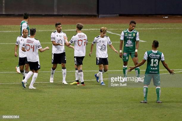 Franco Jara of CF Pachuca celebrates with teammates after scoring a goal in the second half against Club Leon at Miller Park on July 11 2018 in...