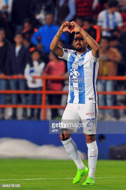 Franco Jara of Mexico´s Pachuca celebrates his goal against Costa Rica´s Deportivo Saprissa during the second leg quarterfinal of the CONCACAF...