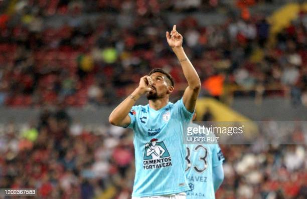 Franco Jara of Pachuca celebrates after scoring against Atlas during their Mexican Clausura 2020 tournament football match at Jalisco Stadium in...