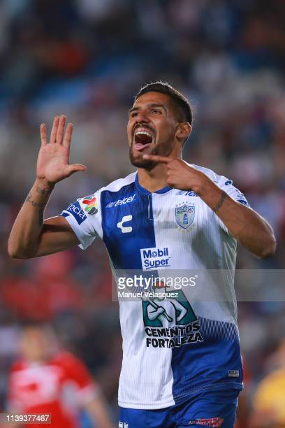 Franco Jara of Pachuca celebrates after scoring his team's first goal during the 12th round match between Pachuca and Toluca as part of the Torneo...