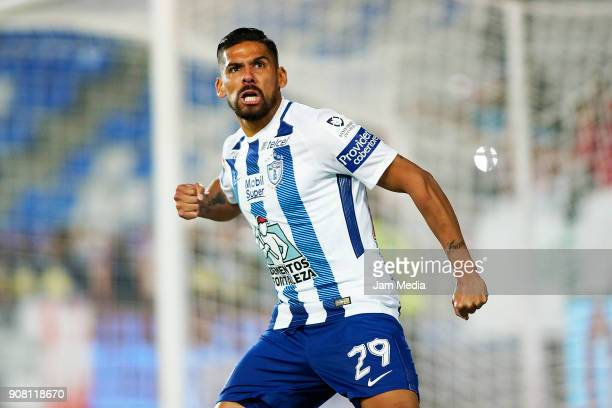 Franco Jara of Pachuca celebrates after scoring his team's second goal during the third round match Pachuca and Lobos BUAP as part of Torneo Clausura...