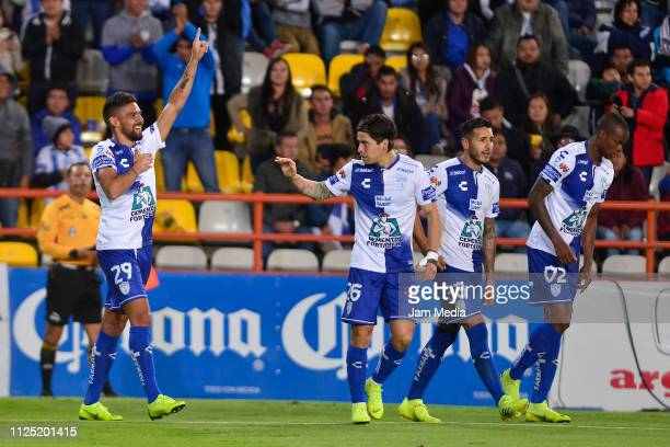 Franco Jara of Pachuca celebrates after scoring the first goal of his team during the 4th round match between Pachuca and Pumas UNAM as part of the...