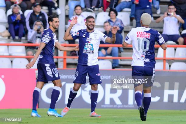 Franco Jara of Pachuca celebrates after scoring the first goal of his team during the 10th round match between Pachuca and Tijuana as part of the...
