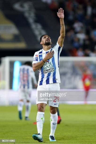 Franco Jara of Pachuca celebrates after scoring the first goal of his team during the first round match between Pachuca and Pumas UNAM as part of the...
