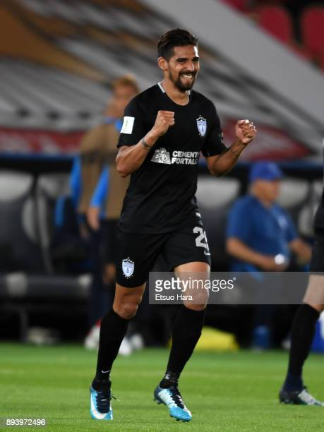 Franco Jara of Pachuca celebrates scoring his side's second goal during the FIFA Club World Cup UAE 2017 third place play off match between Al Jazira...