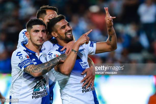 Franco Jara of Pachuca celebrates the seventh scored goal during the 14th round match between Pachuca vs Veracruz as part of the Torneo Clausura 2019...