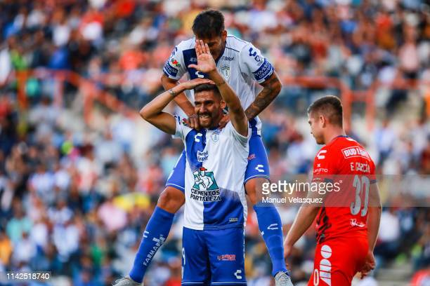 Franco Jara of Pachuca celebrates the third scored goal during the 14th round match between Pachuca vs Veracruz as part of the Torneo Clausura 2019...