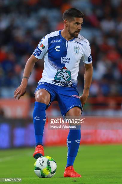 Franco Jara of Pachuca controls the ball during the 12th round match between Pachuca and Toluca as part of the Torneo Clausura 2019 Liga MX at...