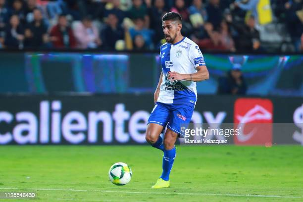 Franco Jara of Pachuca controls the ball during the 4th round match between Pachuca and Pumas UNAM as part of the Torneo Clausura 2019 Liga MX at...