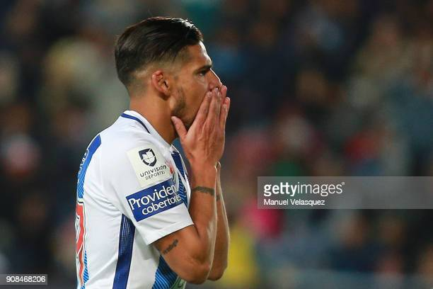 Franco Jara of Pachuca reacts after missing a chance to score during the 3rd round match between Pachuca and Lobos BUAP as part of the Torneo...
